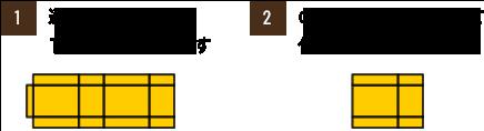 1.通常は1ピースで作ります 2.のりしろ部分を貼って作ります